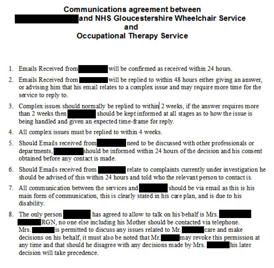 Wheelchair Services - Request for me to sign agreement on communication