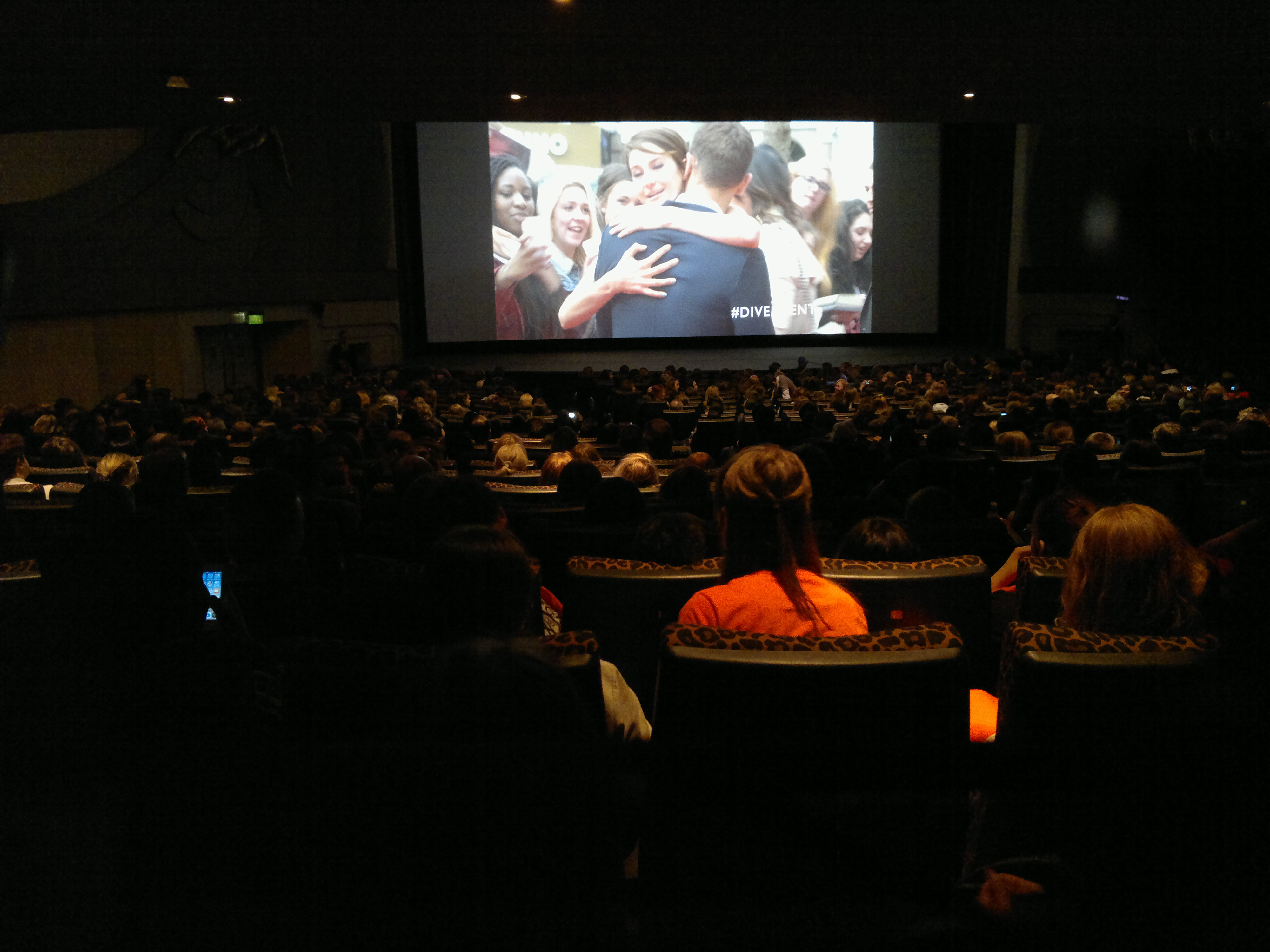 Inside the cinema at the Divergent première