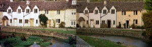 Castle Combe river running in front of old cottages