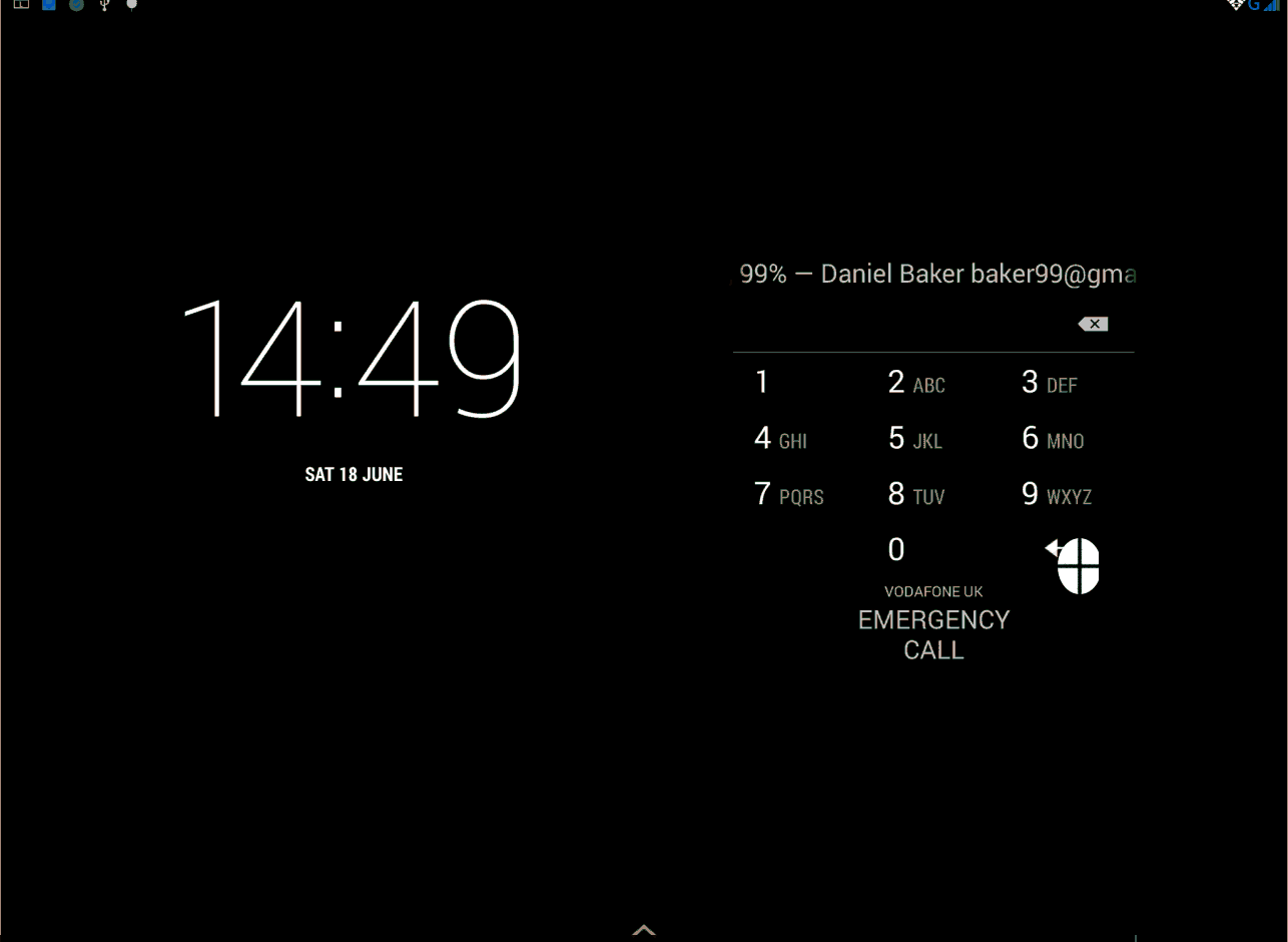 A black Android lockscreen with custom mouse pointer icon
