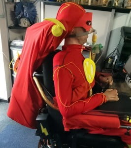 A picture of me in my wheelchair dressed as The Flash