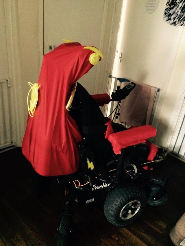 My wheelchair dressed as The Flash