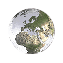 Transparent marble with globe image