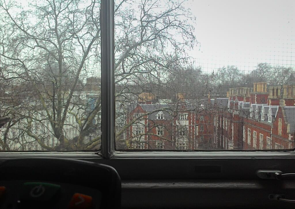 A view of houses through a window at the Brompton Hospital