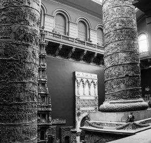Black and White photograph of Pillars at the Victoria and Albert museum
