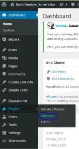 Wordpress screen shot showing location of add plugins