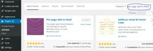 Wordpress screen shot showing adding a plugin