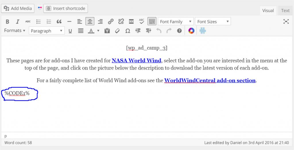 Wordpress screen shot showing location of code shortcut