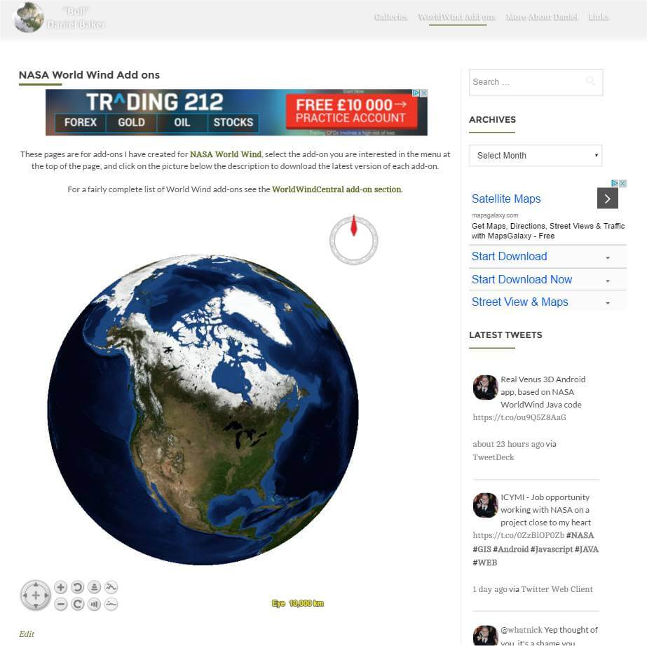 screenshot of NASA World Wind inside WordPress