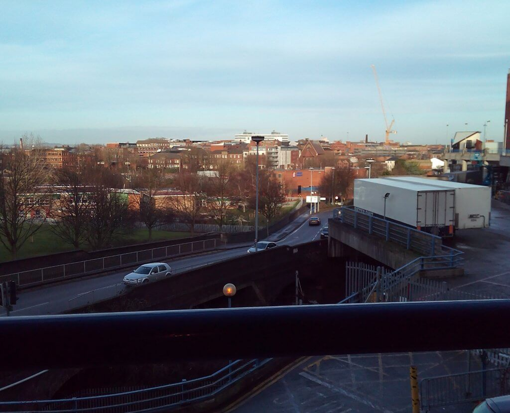View over Birmingham from the Barclaycard Arena car park