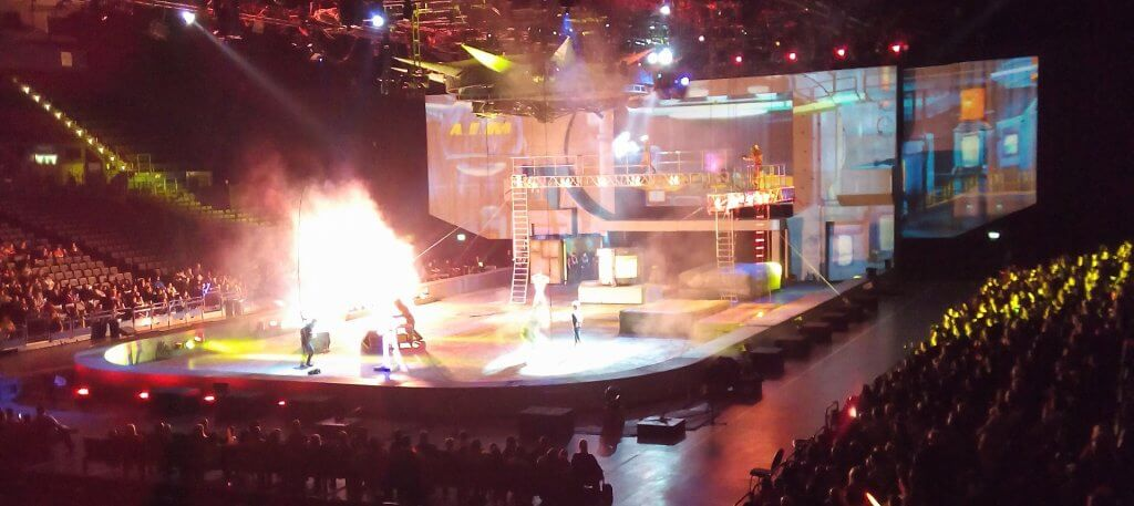 An explosion on stage at Marvel Universe live