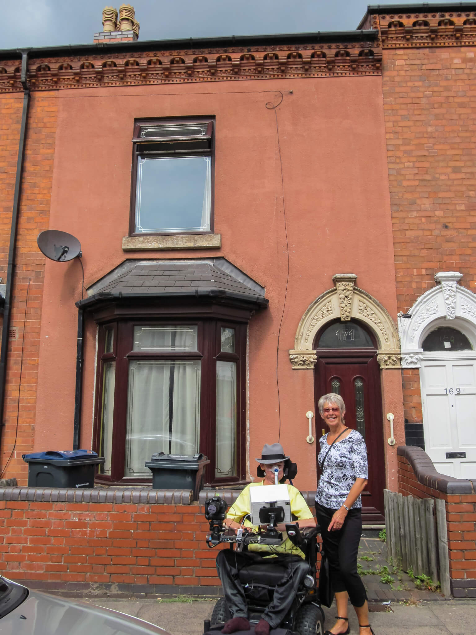 Daniel Baker and his Aunt in front of the house his Nan lived at as a child