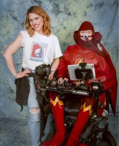 MCM Comic Con Birmingham Billie Piper and Daniel Baker cosplaying as The Flash