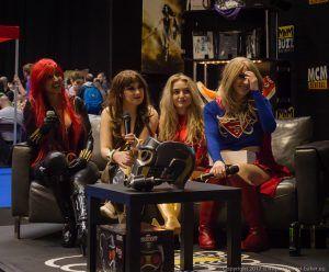 TashaCosplay MissMojoJones ChiquititaCoz and Artyfakes in cosplay at at MCM Comiccon November 2017