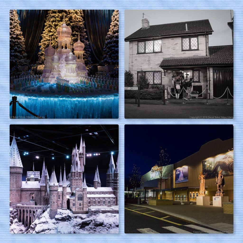 Collage of photos from the Warner Brothers studio tour
