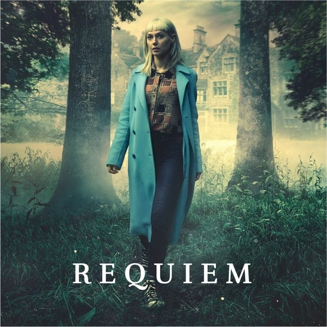 Requiem image Blonde girl with long blue coat walking through the woods copyright 2018 New pictures ltd