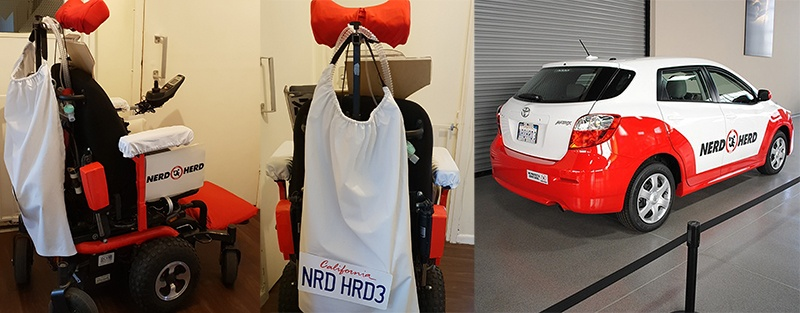 Two pictures of my wheelchair dressed to look like a Nerd Herd car with a picture of the car on the right