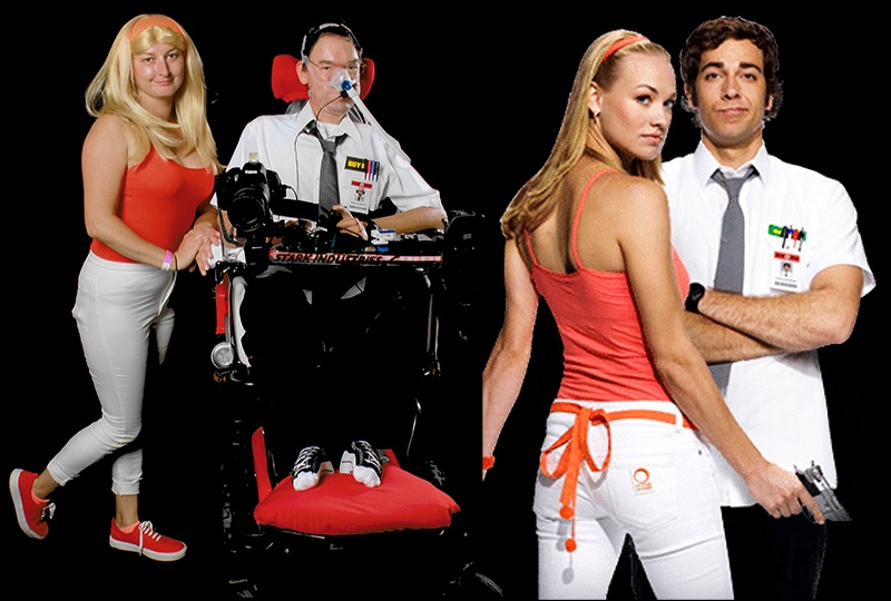 Daniel cosplaying Chuck with his carer cosplaying Sarah on the left with the real Chuck and Sarah on the right