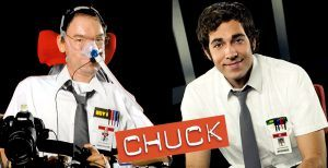 Daniel Baker on the left cosplaying as Chuck and Zachary Levi on the right as Chuck