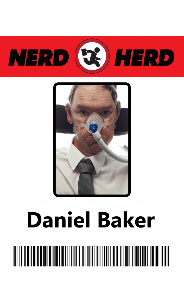 ID badge in chuck style with a photo of Daniel Baker