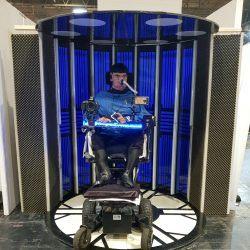Daniel Baker in a transporter prop at Destination Star Trek