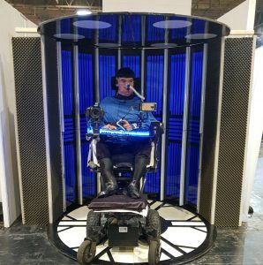 Daniel Baker in a transporter prop at Destination Star Trek