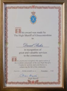 The High Sheriff of Gloucestershire Award in recognition of great and valuable services to the community