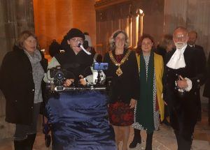 Daniel Baker, his Mother Julia Baker, The Mayor of Gloucester, CEO of MDUK and The High Sheriff of Gloucestershire