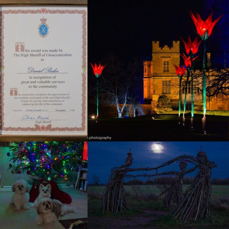 Collage of certificate from the High Sheriff of Gloucestershire, Sudley castle spectacle of light, Kara Mya and Peppa under our Christmas tree and the witches (fairies) of Rollright under the winter solstice moon