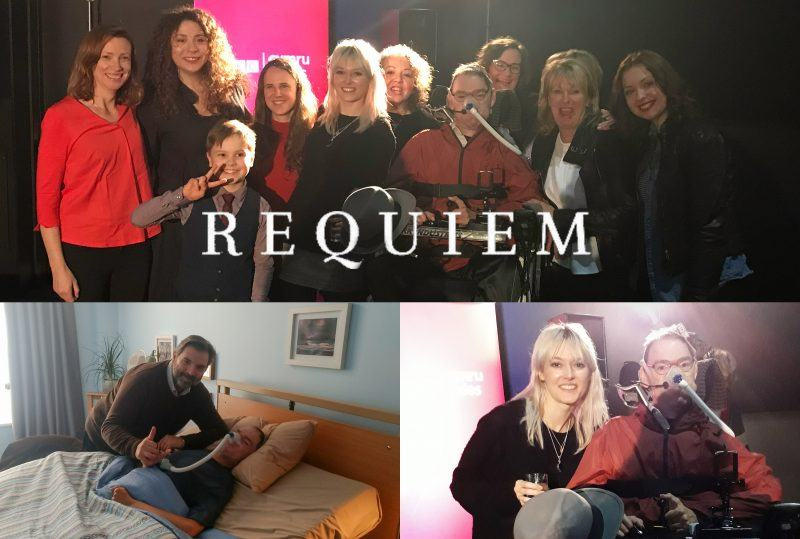 Cast and crew of Requiem with Daniel Baker at the Requiem première in Cardiff.