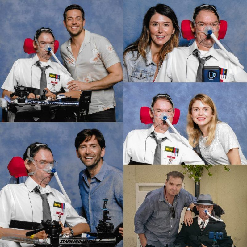 Collage of Daniel Baker with Zachary Levi, David Tennant, Jewel Staite, Rose McIver and Brendan Coyle