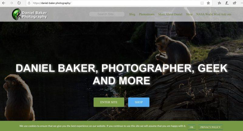 screen capture of https://daniel-baker.photography homepage