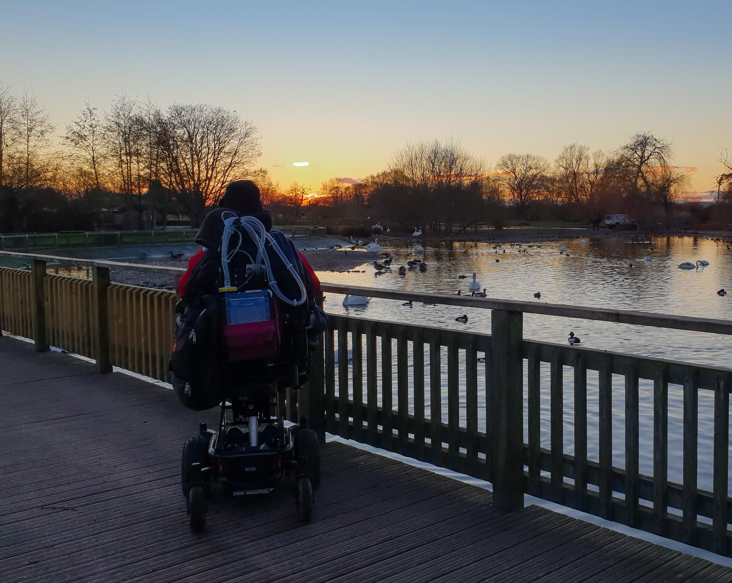 Daniel Baker looking over a lake towards a sunset at WWT Slimbridge