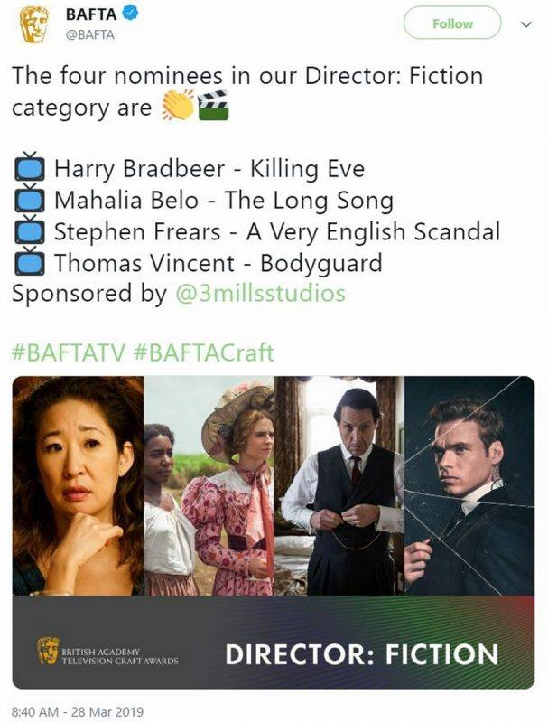 screenshot of BAFTA nominations tweet including Mahalia Belo for the long song