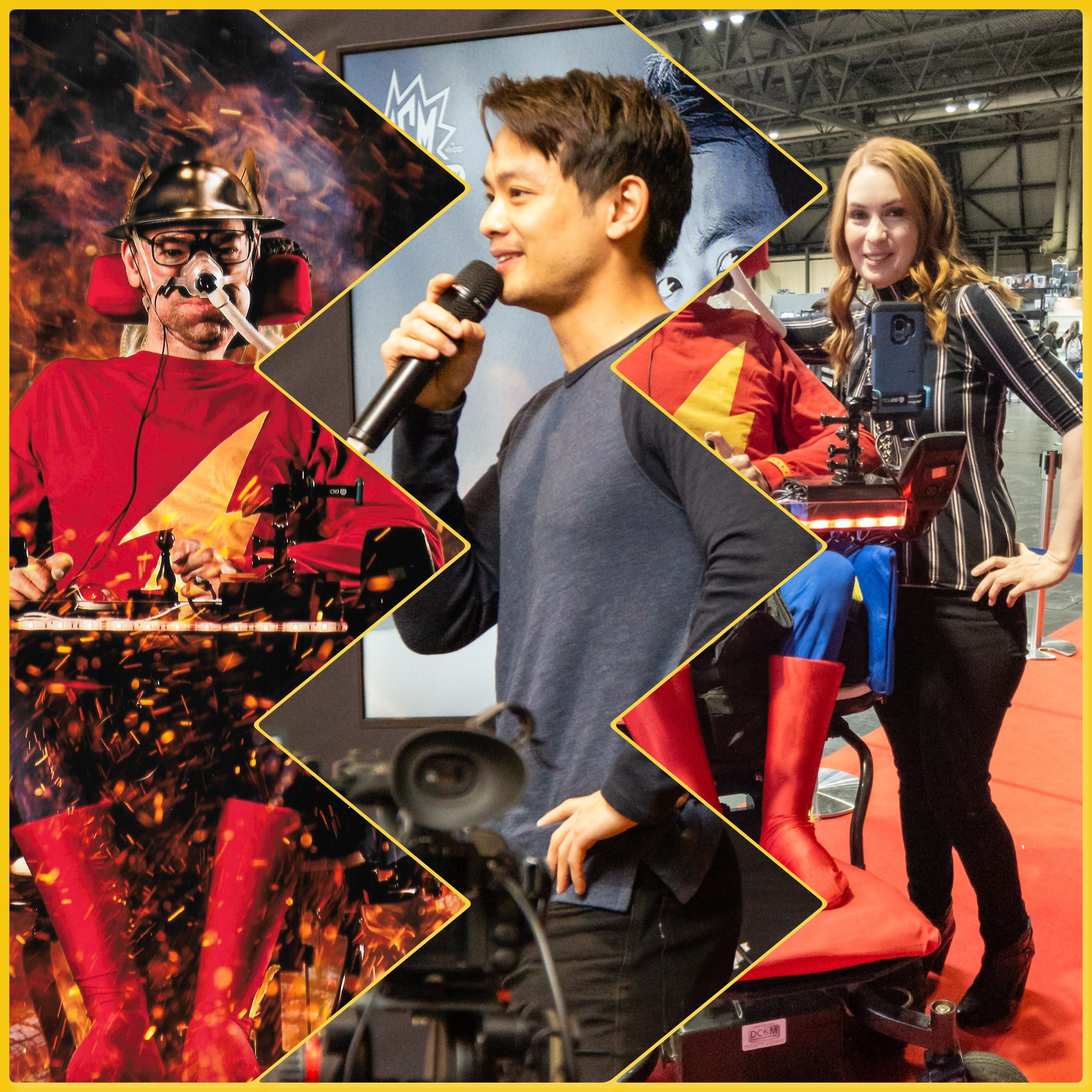 collage of Daniel Baker dressed as Jay Garrick, Osric Chau and Felicia Day at Mcm Comiccon Birmingham 2019