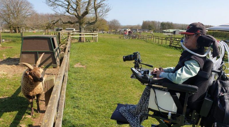 Daniel Baker in his wheelchair looking at a long horned sheep through a fence at Cotswold Farm Park