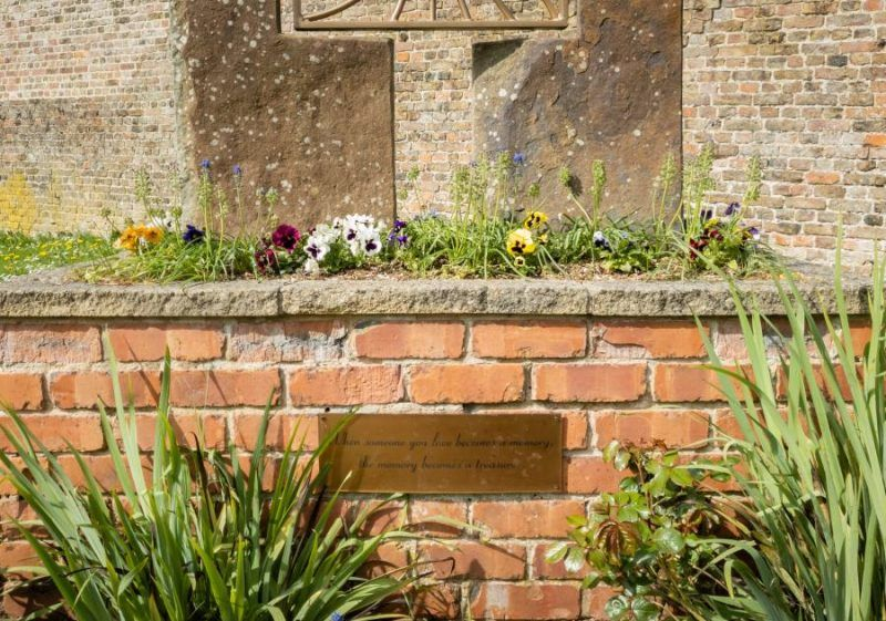 "Pansies and a plaque which reads ""When someone you love becomes a memory, the memory becomes a treasure"" before meeting to set up a local photography group"