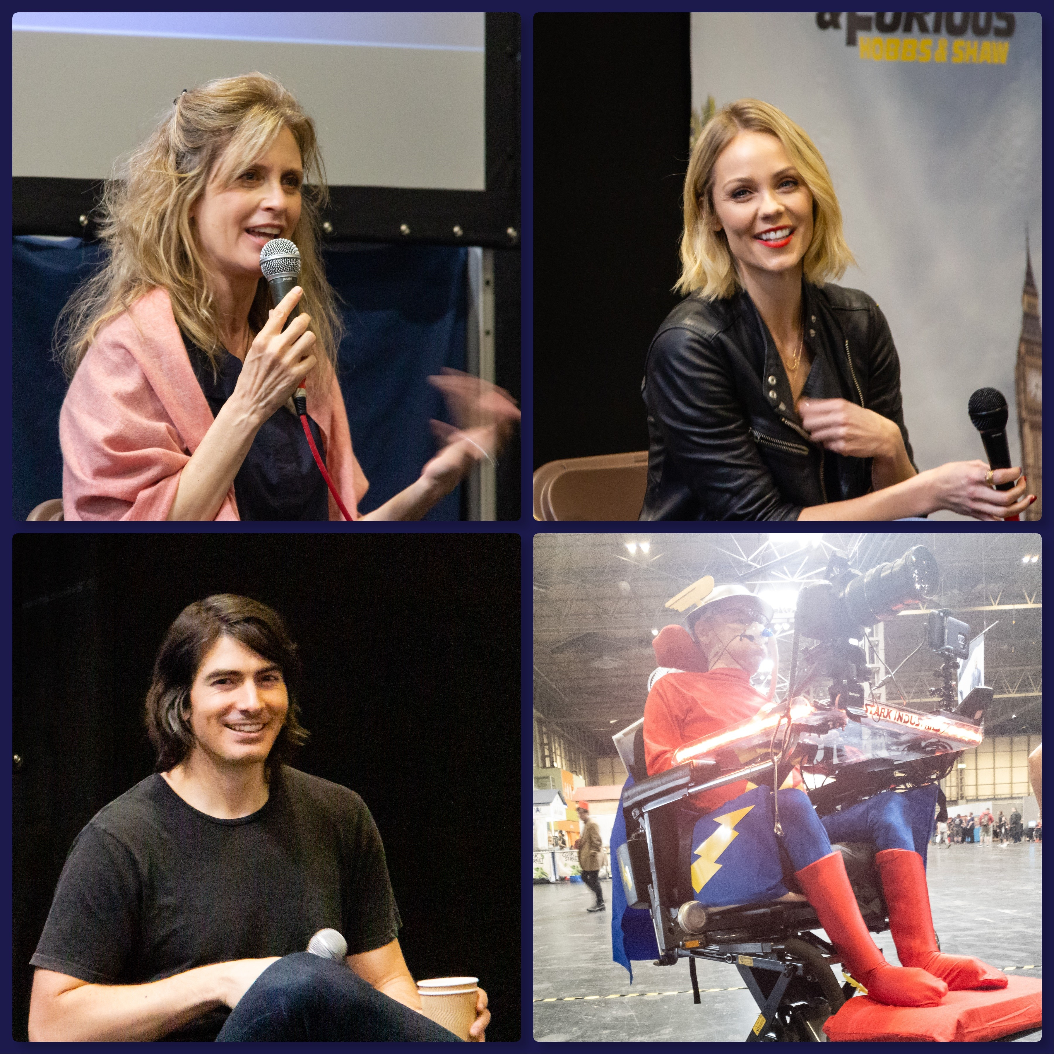 Collage of Helen Slater, Laura Vandervoort, Brandon Routh and Daniel Baker at Collectormania 26