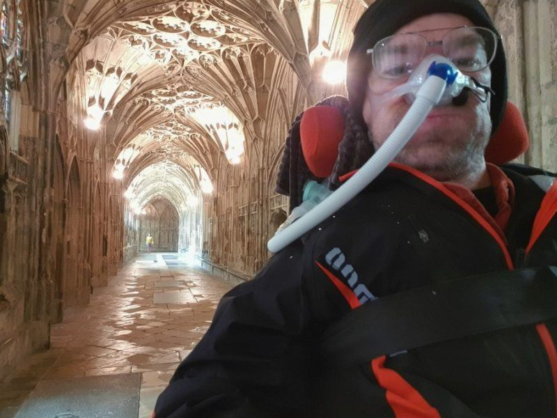 Daniel Baker last week in the cloisters at Gloucester Cathedral