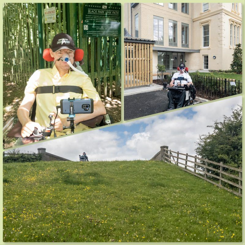 Collage of Daniel Baker outside Pinewood Studios, Daniel Baker outside Overton house and Daniel Baker at the top of a steep hill