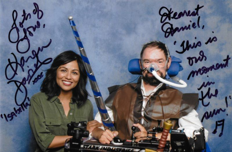 Karen David with Daniel Baker in Galavant cosplay at LFCC Comiccon 2019