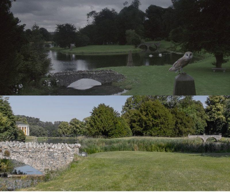 Two images of two bridges, one in the foregound and one behind, the top image is a screenshot from the film The Labyrinth - Return to the Labyrinth