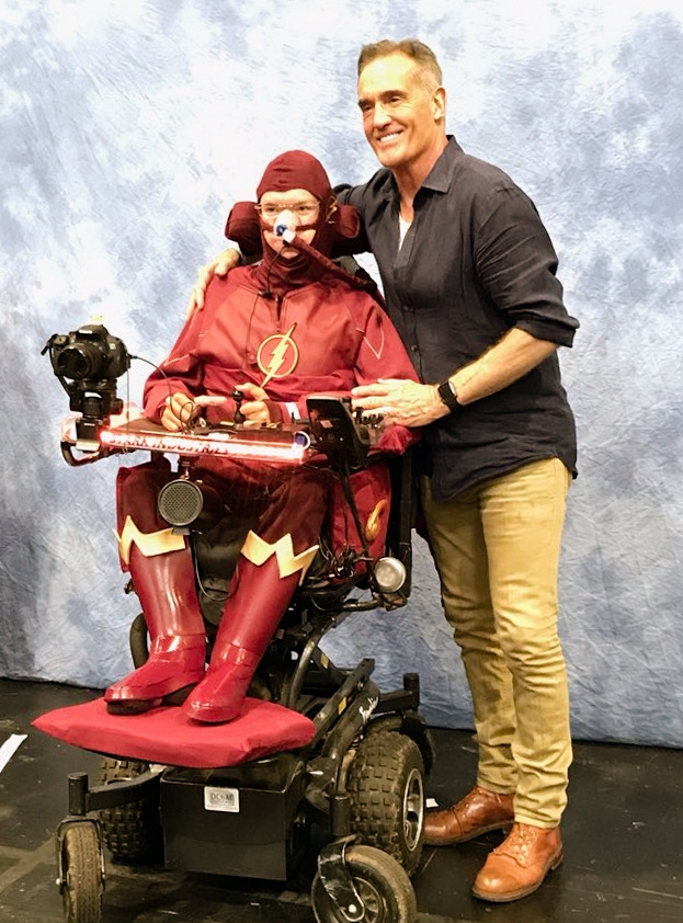John Wesley Shipp with Daniel Baker dressed as The Flash