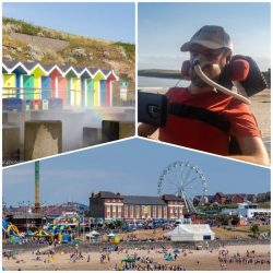 A collage of images from Barry Island, top left coloured beach huts with mist in front causing a rainbow to appear, top left Daniel Baker in a red base layer with the beach behind him, bottom a busy Barry Island beach with a big wheel behind