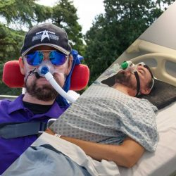 two photos, one of Daniel wearing a baseball cap, sunglasses and a purple polo shirt at Westonbirt Arboretum and another of Daniel in a hospital gown laying in a hospital bed