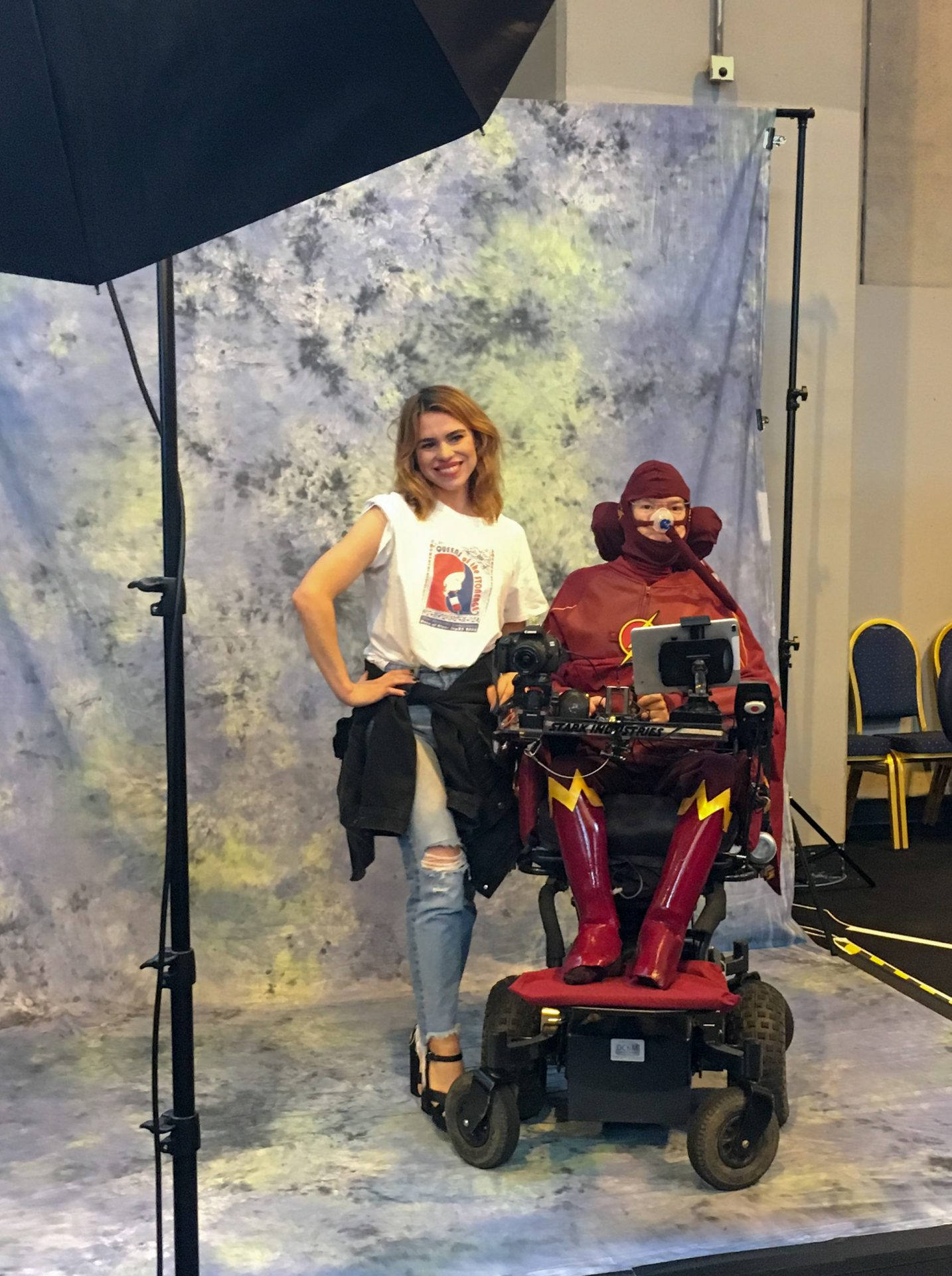 Billie Piper with Daniel Baker dressed as the Flash
