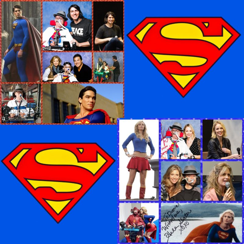 Collage of superman and supergirl with Superman logo
