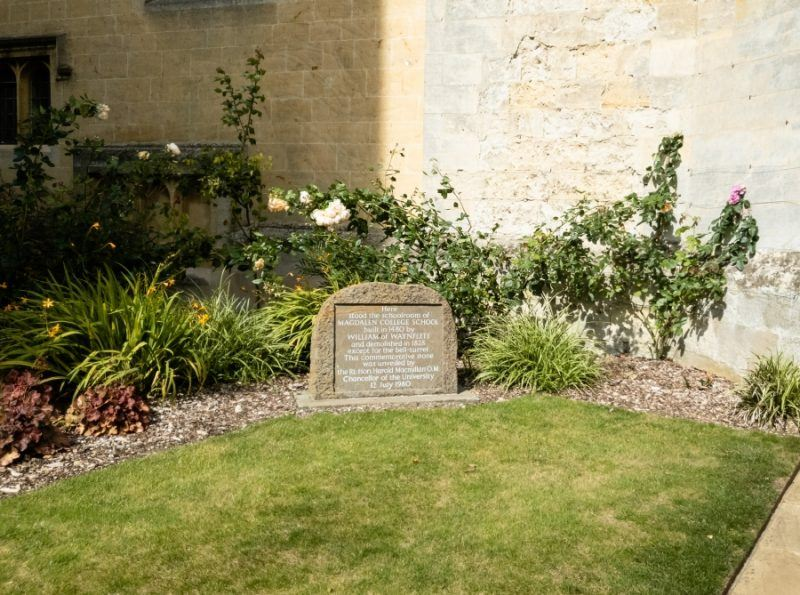 A plaque in Magdalen college's courtyard