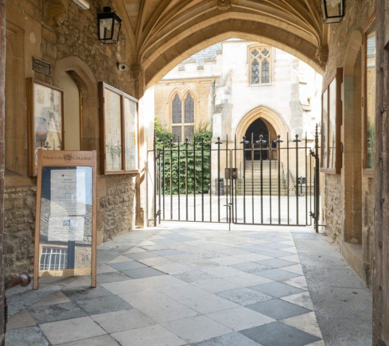 The gate leading into the courtyard of Merton college
