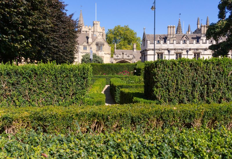 Oxford September 2019 view from botanical gardens of Magdalen college